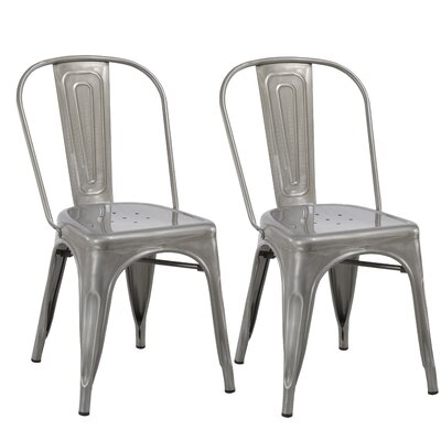 Industrial Metal Bistro Stackable Cafe Dining Chair