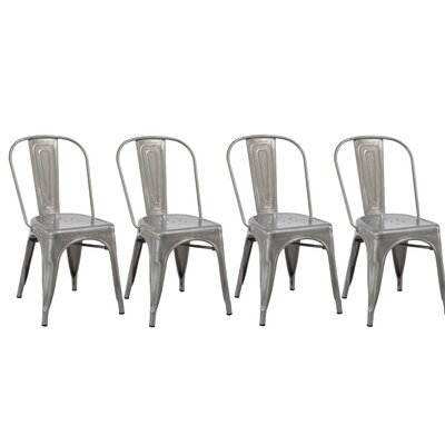 Industrial Metal Bistro Stackable Cafe Side Chair