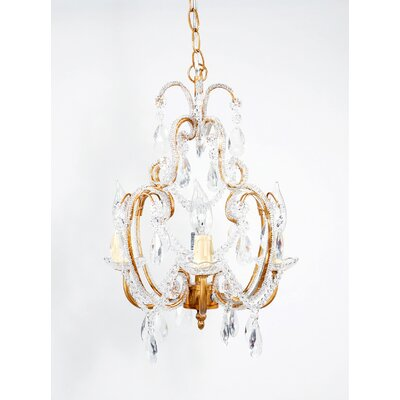 Hanging 4-Light Crystal Chandelier Finish: Gold