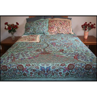 Brussels Tree of Life Block Printed Reversible 3 Piece Duvet Cover Set
