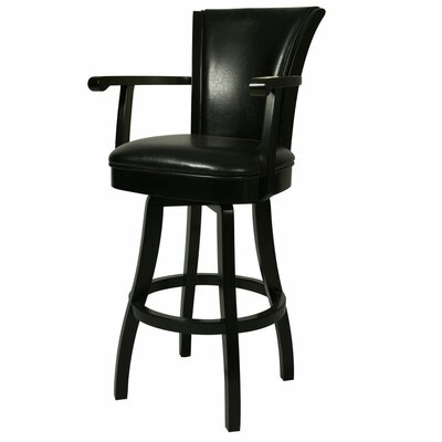 Glenwood 26 Swivel Bar Stool Upholstery: Black