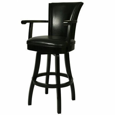 Glenwood 30 Swivel Bar Stool Upholstery: Black