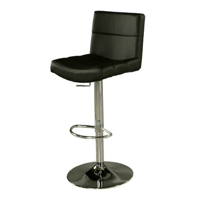 Versailles Adjustable Height Swivel Bar Stool Upholstery: Black