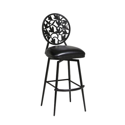 Brownsville 30.75 Swivel Bar Stool Finish: Phantom, Upholstery: Ford Black