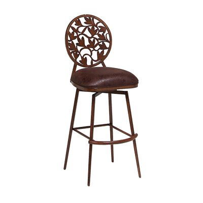 Brownsville 30.75 Swivel Bar Stool Finish: Noyer, Upholstery: Balwin Chocolate