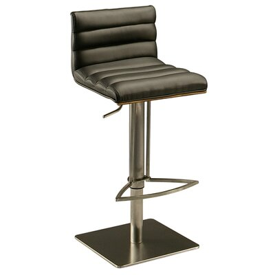 Dubai Adjustable Height Swivel Bar Stool Frame Finish: Stainless Steel/Walnut Veneer, Upholstery: Black