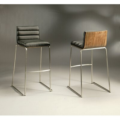 Dominica 30.25 Bar Stool Finish: Stainless Steel/Walnut Veneer, Upholstery: PU Black