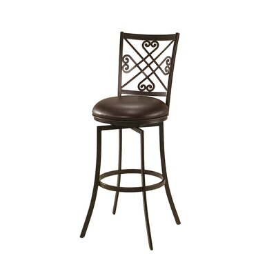Savannah 31.25 Swivel Bar Stool Frame Color: Autumn Rust, Upholstery: Ford Brown