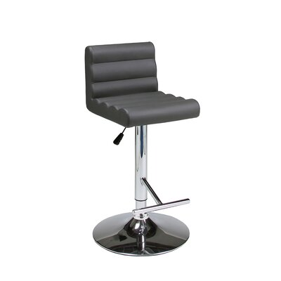 Hizzoner Adjustable Height Swivel Bar Stool with Cushion Seat Finish: Gray