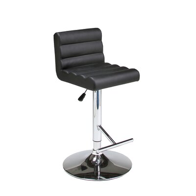 Hizzoner Adjustable Height Swivel Bar Stool with Cushion Seat Finish: Black