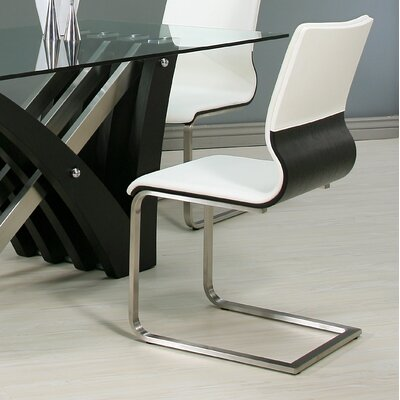 Charlize Side Chair Finish: Wenge Veneer, Upholstery Color: White