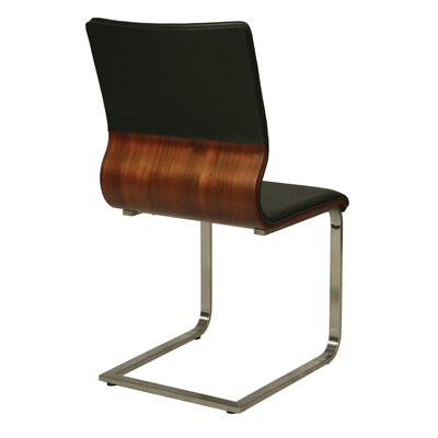 Charlize Side Chair Finish: Walnut Veneer, Upholstery Color: Black