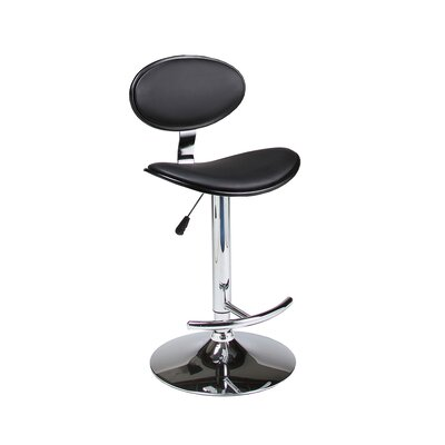 Joffrey Adjustable Height Swivel Bar Stool Upholstery: Black