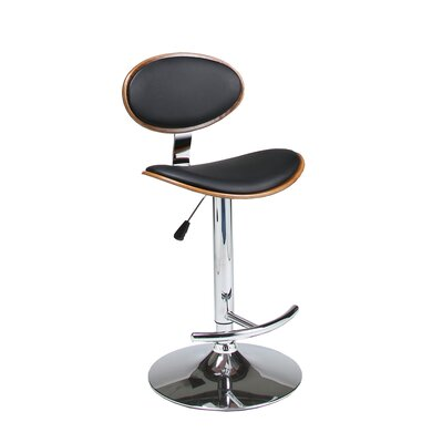 Joffrey Adjustable Height Swivel Bar Stool Upholstery: Black / Walnut