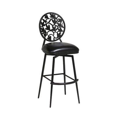 Brownsville 26 inch Swivel Bar Stool Upholstery: Ford Black, Finish: Phantom