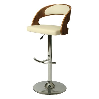 Yreka Adjustable Height Swivel Bar Stool Upholstery: Ivory