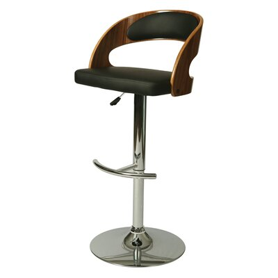 Yreka Adjustable Height Swivel Bar Stool Upholstery: Black