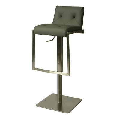 Adijon Adjustable Height Swivel Bar Stool Upholstery: Gray