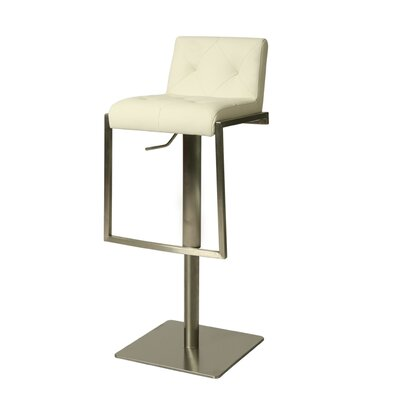 Adijon Adjustable Height Swivel Bar Stool Upholstery: Ivory