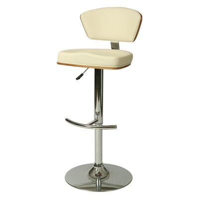 Utimate Adjustable Height Swivel Bar Stool Upholstery: Ivory