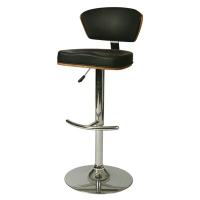Utimate Adjustable Height Swivel Bar Stool Upholstery: Black