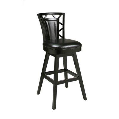 Huntington 26 Swivel Bar Stool Finish: Feher Black, Upholstery: Black Leather