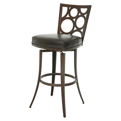 Villa Metro 30 Swivel Bar Stool Base Finish: Coffee Brown, Upholstery: Melvin Chocolate
