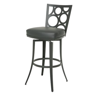 Villa Metro 26 Swivel Bar Stool Base Finish: SF Matte Gray, Upholstery: Gray