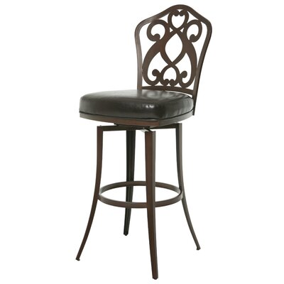Orbit 26 Swivel Bar Stool Base Finish: Coffee Brown, Upholstery: Melvin Chocolate