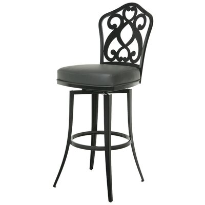 Orbit 26 Swivel Bar Stool Base Finish: SF Matte Black, Upholstery: Gray
