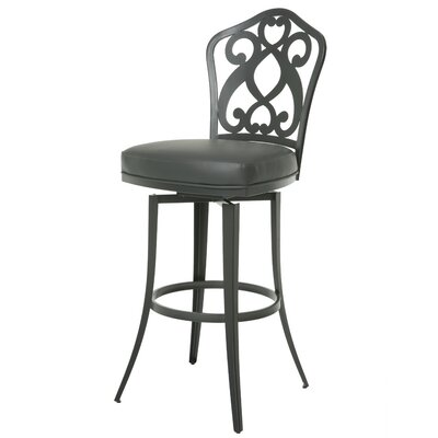 Orbit 26 Swivel Bar Stool Base Finish: SF Matte Gray, Upholstery: Gray