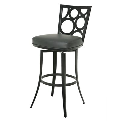 Villa Metro 30 Swivel Bar Stool Base Finish: SF Matte Black, Upholstery: Gray