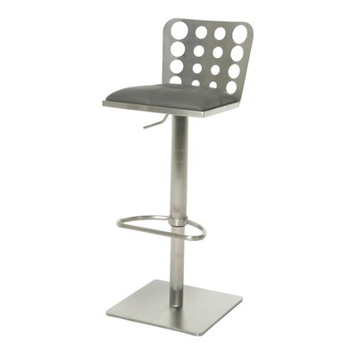 Finnmax Adjustable Height Swivel Bar Stool Base Finish: Stainless Steel, Upholstery: Gray