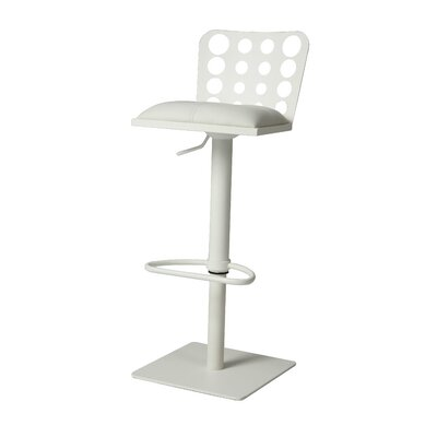 Finnmax Adjustable Height Swivel Bar Stool Base Finish: SF Matte White, Upholstery: Ivory
