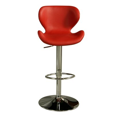 Keese Adjustable Height Swivel Bar Stool Upholstery: Red