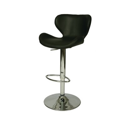 Cagliari Adjustable Height Swivel Bar Stool Upholstery: Black
