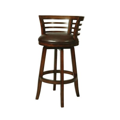 Ortona 30 Swivel Bar Stool with Cushion Finish: Distressed Cherry with Stallion Brown Seat