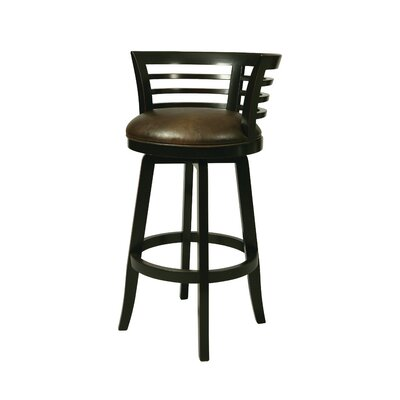 Ortona 30 Swivel Bar Stool Finish: Weather Black with Stallion Burnt Seat