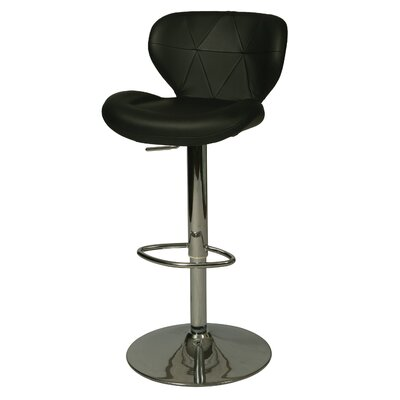 Aegean Coast Adjustable Height Swivel Bar Stool Upholstery: Black