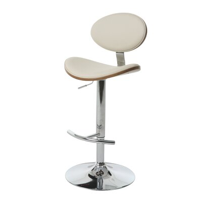 Joffrey Adjustable Height Swivel Bar Stool Upholstery: Ivory / Walnut