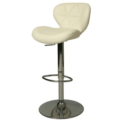 Aegean Coast Adjustable Height Swivel Bar Stool Upholstery: Ivory