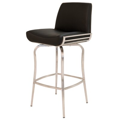 Degorah 26 Swivel Bar Stool Upholstery: Black