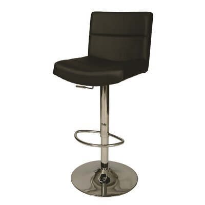 Versailles Adjustable Height Swivel Bar Stool Upholstery: Black