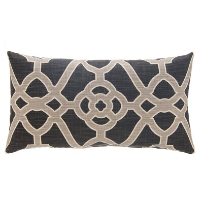 Fretwork Linen Lumbar Pillow Color: Slate