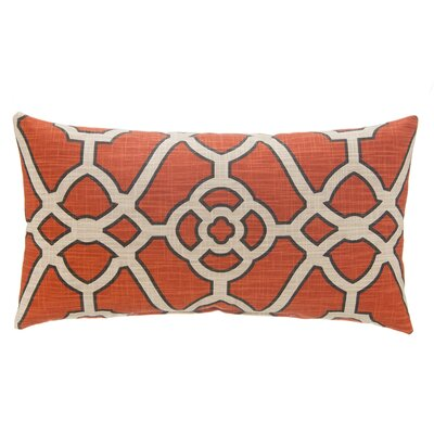 Fretwork Linen Lumbar Pillow Color: Orange