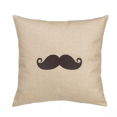 Mustache Linen Throw Pillow