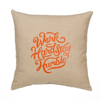Work Hard Linen Throw Pillow