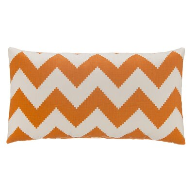 Chevron Velvet Lumbar Pillow Color: Tangerine