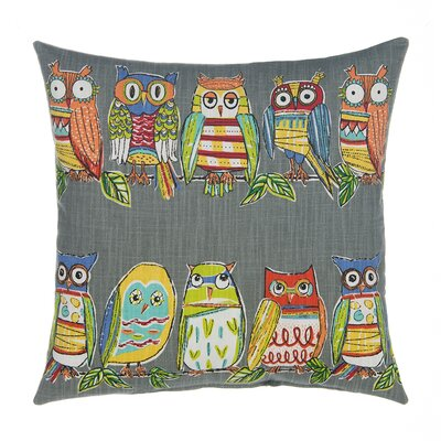 Hoot Throw Pillow Color: Gray