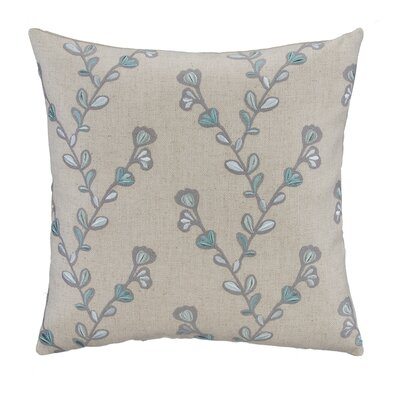 Aqua & Gray Twig Embroidery Linen Square Pillow